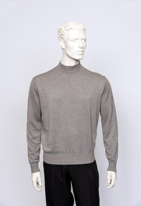 Brighton Mens Ash Long Sleeve Mock Neck Fine Gauge Knit Sweater
