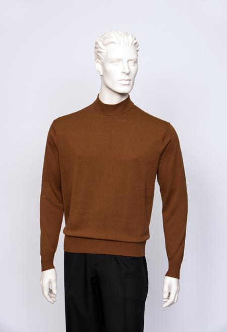 Brighton Men's Cognac Mock Neck Fine Gauge Multi Long Sleeve Sweater