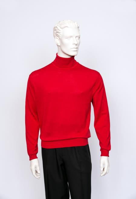 Men's Turtle Neck Fine Gauge Knit Turtle Red Long Sleeve Sweater