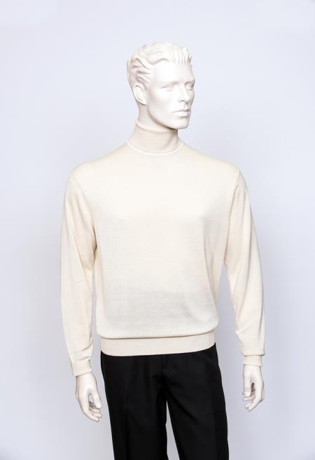 Men's Long Sleeve Turtle Ivory Neck Fine Gauge Knit Sweater