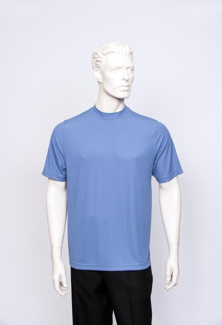 Carla Men's Ocean T-Shirt Ribbed Short Sleeve Sweater
