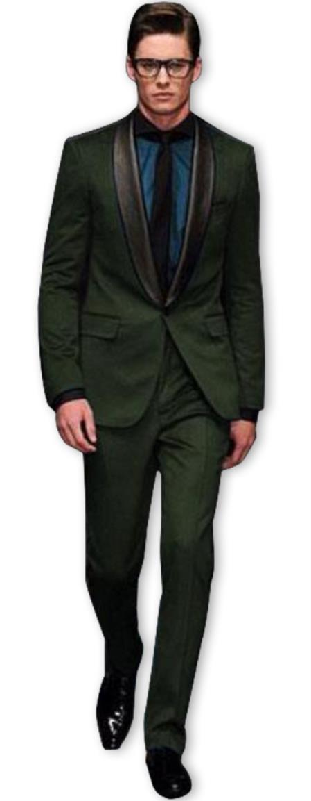 Alberto Nardoni Olive ~ Dark Green Shawl Collar Wool Tuxedo Vested 3PC Suit Black Lapel