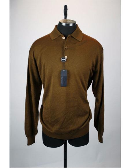 Men's Long Sleeve 3 Button Brown Solid Silk Blend Polo Sweater
