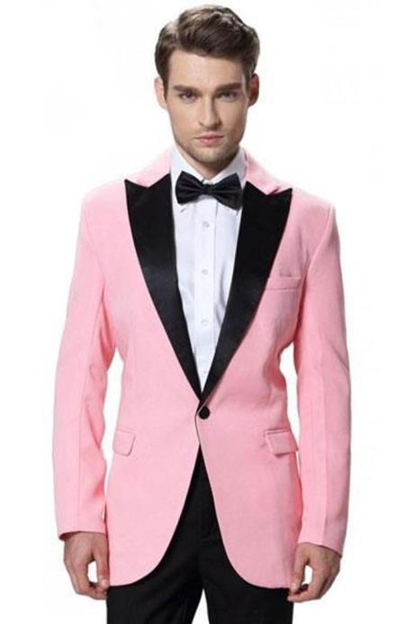 Mens Single Breasted Black Lapel Tuxedos Pink Jacket with Black Pant One Button Elegant Slim Fit Wedding Suit