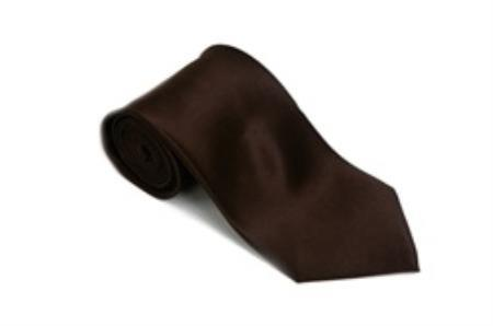 SKU#SA811 Brown 100% Silk Solid Necktie With Handkerchief