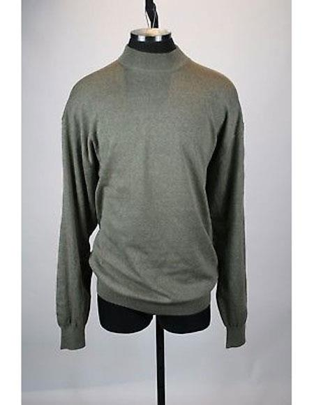 Mens Taupe Solid Pattern Silk Blend Mock Neck Sweater