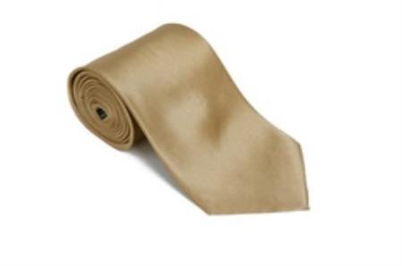 SKU#NG345 Gold 100% Silk Solid Necktie With Handkerchief