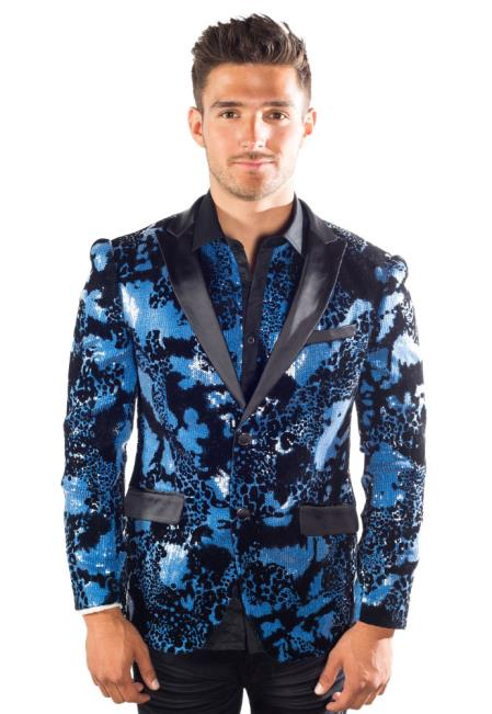 Buy SM4397 Men's Navy Peak Lapel Sequin Floral 2 Button Single Breasted Blazer