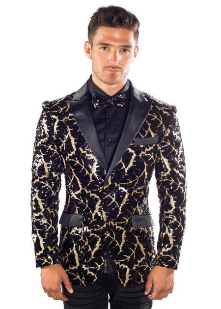 Buy SM4406 Men's Black Gold Sequined Botanical Pattern 2 Button Peak Lapel Blazer