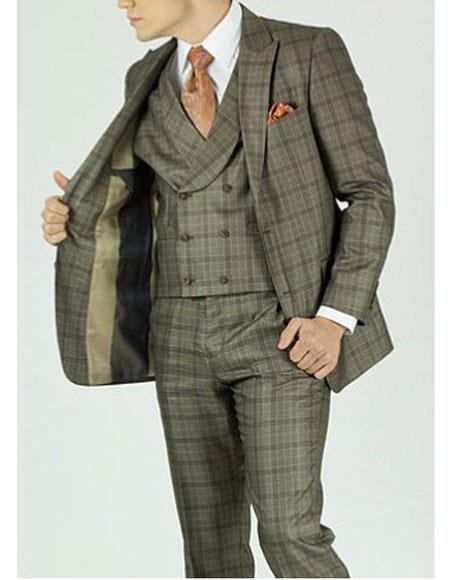 1930s Men's Suits History Mens 3 Piece Beige Plaid Rounded Collar Classic Fit Vest Suit $169.00 AT vintagedancer.com