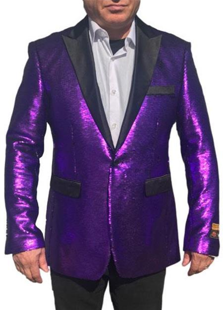 Purple Fashion Shiny Sequin paisley look Black Lapel Alberto Nardoni sport coat jacket