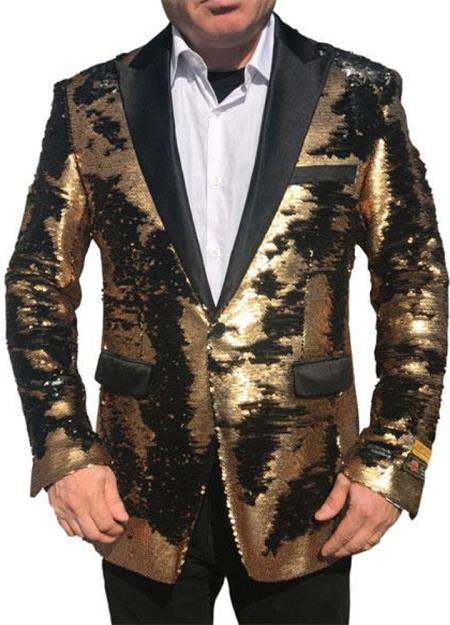 Gold Shiny Black Peak Lapel paisley look Fashion Alberto Nardoni Tuxedo sport coat jacket