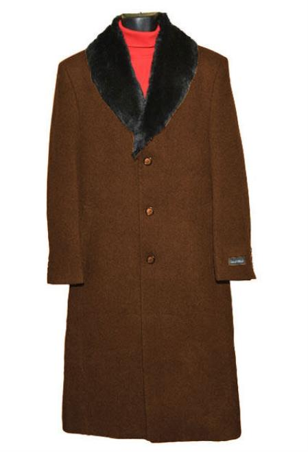 Buy SM4422 Men's Brown (Removable ) Fur Collar 3 Button Single Breasted Wool Full Length Overcoat ~ Topcoat 65% Wool full length Fabric Also