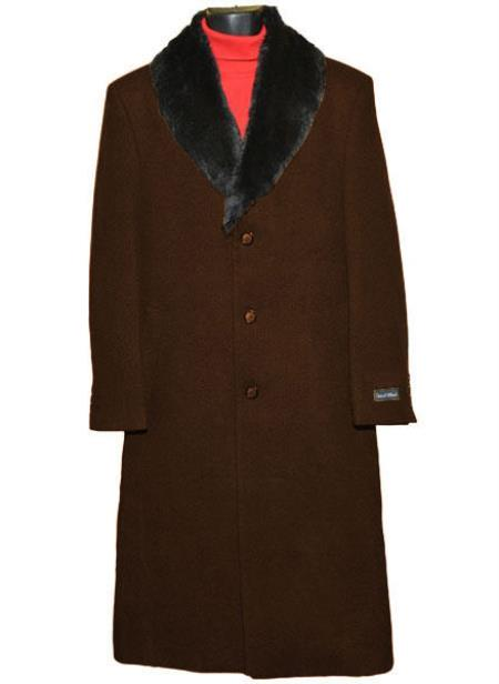 60s 70s Men's Jackets & Sweaters Mens  Fur Collar 3 Button Breasted Wool Full Length Overcoat Brown $250.00 AT vintagedancer.com