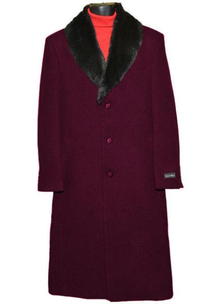 Buy SM4421 Dark Burgundy Men's (Removable ) Fur Collar 3 Button Single Breasted Wool Full Length Overcoat ~ Topcoat 65% Wool full length Fabric Also
