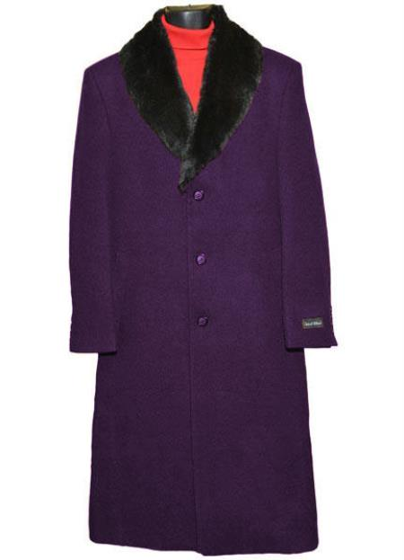 Buy SM4427 Men's (Removable ) Fur Collar Dark Purple Single Breasted 3 Button Wool Full Length Overcoat ~ Topcoat 65% Wool full length Fabric Also