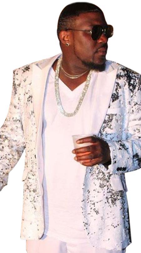 Mens Shiny White ~ Silver Fashion Alberto Nardoni paisley look Black Lapel Tuxedo sport jacket