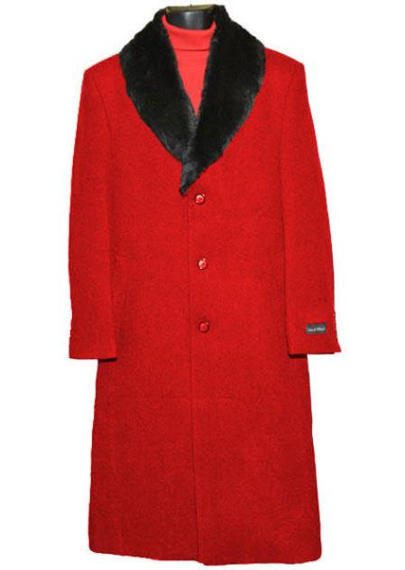 Buy SM4432 Men's 3 Button Wool Red (Removable ) Fur Collar Single Breasted Full Length Overcoat ~ Topcoat 65% Wool full length Fabric Also