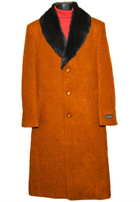 60s 70s Men's Jackets & Sweaters Mens 3Button Wool Fur Collar Single Breasted Rust Full Length Overcoat $250.00 AT vintagedancer.com