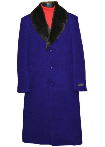 60s 70s Men's Jackets & Sweaters Mens 3Button Wool Fur Collar Single Breasted Full Length Overcoat $250.00 AT vintagedancer.com