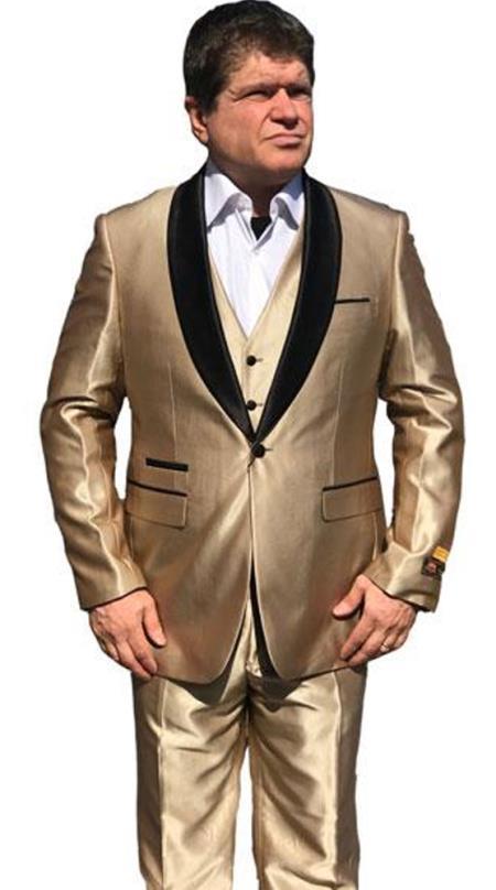 Alberto Nardoni Mens Sharkskin Vested 1 Button Shawl Tuxedo in Shiny Gold $199