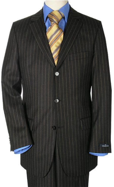 SKU# 3BWN Jet Black Small Pinstripe premier quality italian fabric Signature Platinum Stays Cool $175
