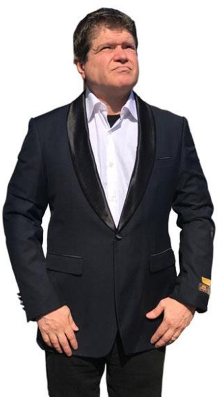 Mens 1 Button Shawl Lapel Tuxedo Dinner Jacket with Black Satin Shawl Black
