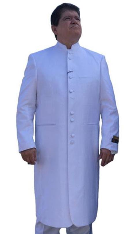 Preacher Mandarin Style 45 Inch Long Coat clergy pastor robes for males buy 10PC & UP For $110 Advanced Pre Order To Ship November / 15 / 2019