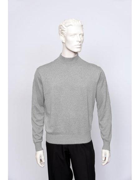 Mens Silk Blend Brighton Sleeve Mock Neck Fine Gauge Knit Sweater