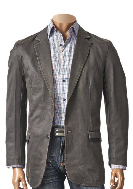 Men's 2 Button Notch Lapel Cotton Coated Blazer Black SM4464