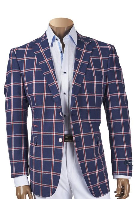 Buy SM4475 Men's Single Breasted Navy Blue Notch Lapel 2 Button Linen Plaid Blazer