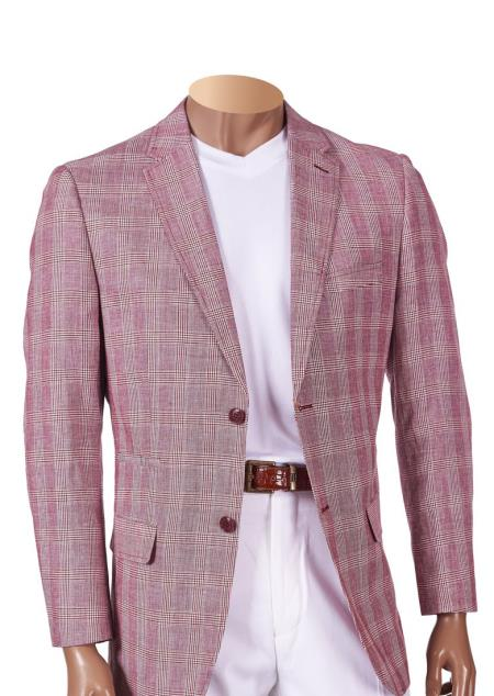 Buy SM4473 Men's Linen Plaid Single Breasted Burgundy Notch Lapel 2 Button Blazer