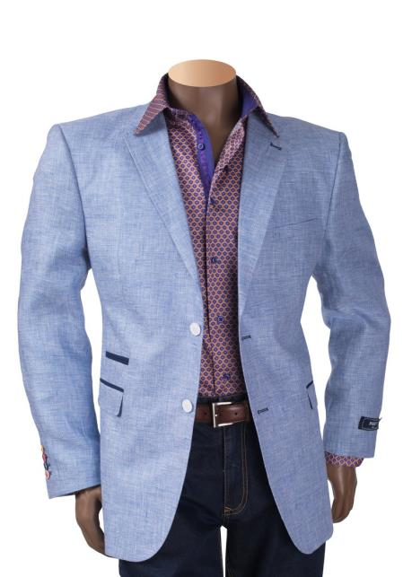 Buy SM4477 Royal Blue Men's Linen 2 Button Notch Lapel Single Breasted Blazer