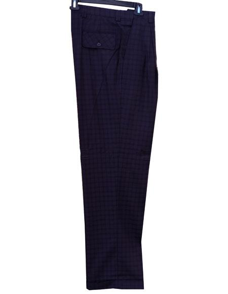 Mens Real Window Pane ~ Plaid Eggplant Wide Leg Pants