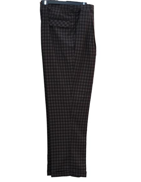 Mens Brown Real Window Pane ~ Plaid Mens Wide Leg Trousers