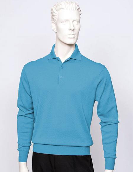 Tulliano mens Heather long sleeve silk/cotton fine gauge knitwear