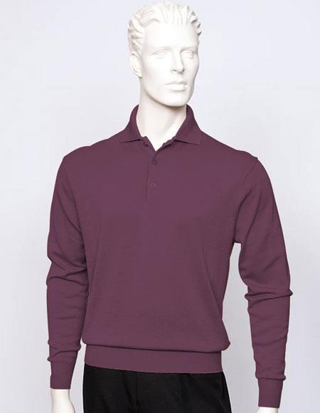 Tulliano mens long sleeve silk/cotton fine gauge knitwear Plum
