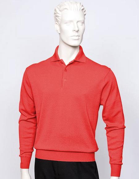 Tulliano mens long sleeve silk/cotton fine gauge knitwear Red
