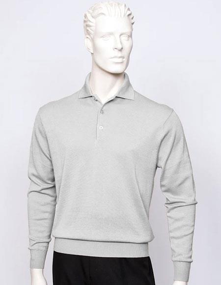 Tulliano mens long sleeve silk/cotton fine gauge knitwear Silver