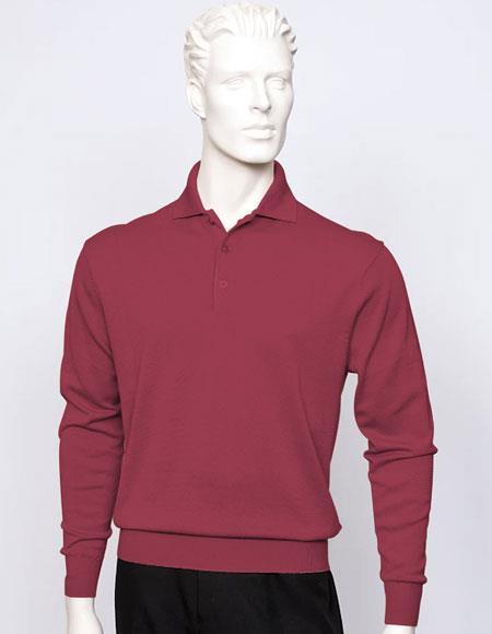 Tulliano mens long sleeve silk/cotton fine gauge knitwear Wine
