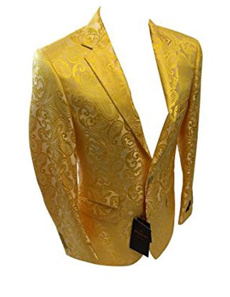 Buy GD772 Men's Single Breasted Two Button Notch Lapel Yellow Sport Coat Blazer