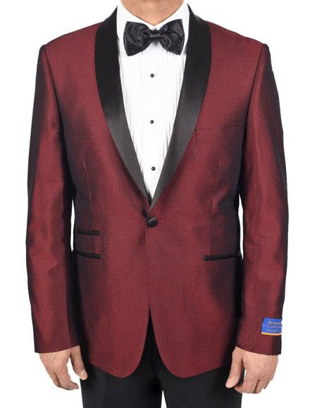 New Vintage Tuxedos, Tailcoats, Morning Suits, Dinner Jackets Mens Super 150s Viscose Blend Red 1 Button Tuxedo Solid Pattern Satin Shawl Lapel Dinner Jacket $175.00 AT vintagedancer.com