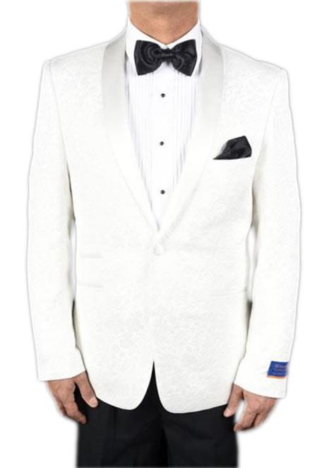 Mens Super 150s Viscose Blend 1 Button White Tuxedo Floral Pattern Single Breasted Dinner Jacket