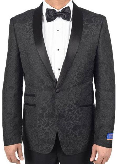 Mens Black Super 150s Viscose Blend 1 Button Tuxedo Floral Pattern Single Breasted Dinner Jacket