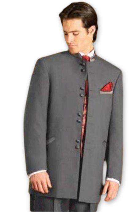 1960s Mens Suits | 70s Mens Disco Suits Mens Mandarin Tuxedo Single Breasted Medium Grey Suit $149.00 AT vintagedancer.com