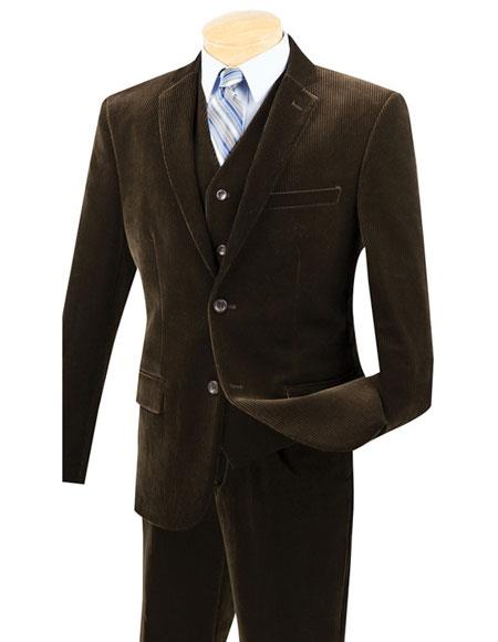 Buy CH1669 Mens Two Buttons Pinstripe ~ Stripe corduroy 2 piece vested suits Flat Front Pants