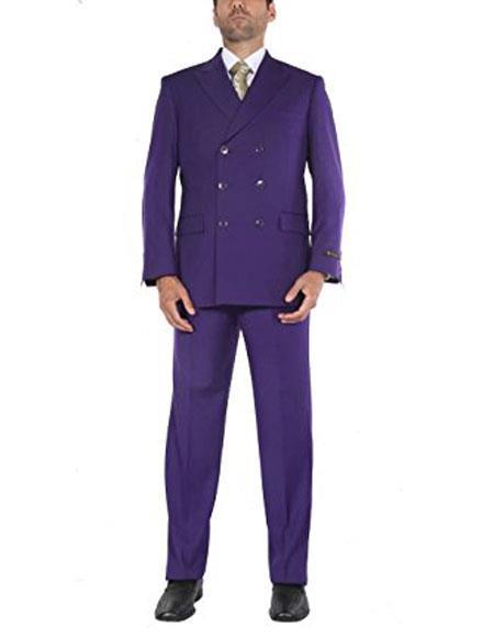 1960s Mens Suits | 70s Mens Disco Suits Mens Two-Piece Classic Fit Double Breasted Purple Suit Jacket  Pleated Pants $159.00 AT vintagedancer.com