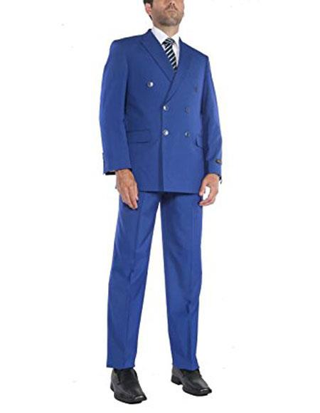 1960s Mens Suits | 70s Mens Disco Suits Mens Royal Blue Two-Piece Classic Fit Double Breasted Suit Jacket  Pleated Pants $159.00 AT vintagedancer.com