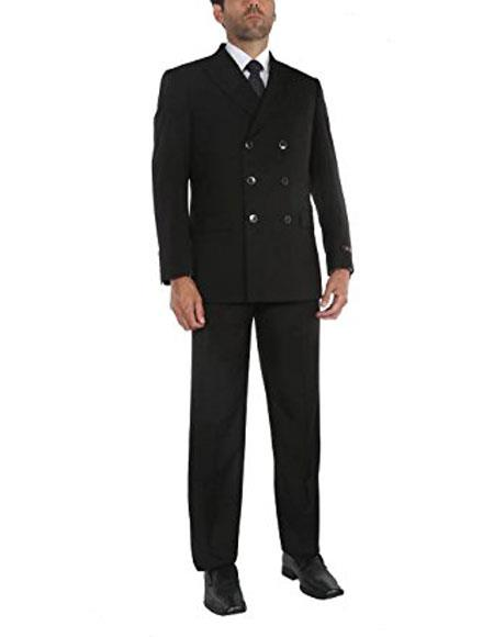 Buy CH1728 Men's Black Two-Piece Double Breasted Classic Fit Suit Jacket & Pleated Pants