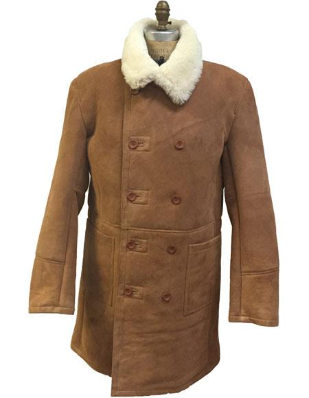 60s 70s Men's Jackets & Sweaters Mens Cognac Shearling Double Breasted Buttons Closure Trench Coat $1,350.00 AT vintagedancer.com